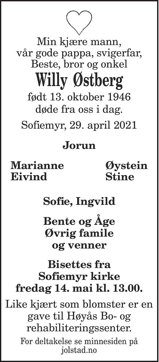 Willy Østberg Dødsannonse