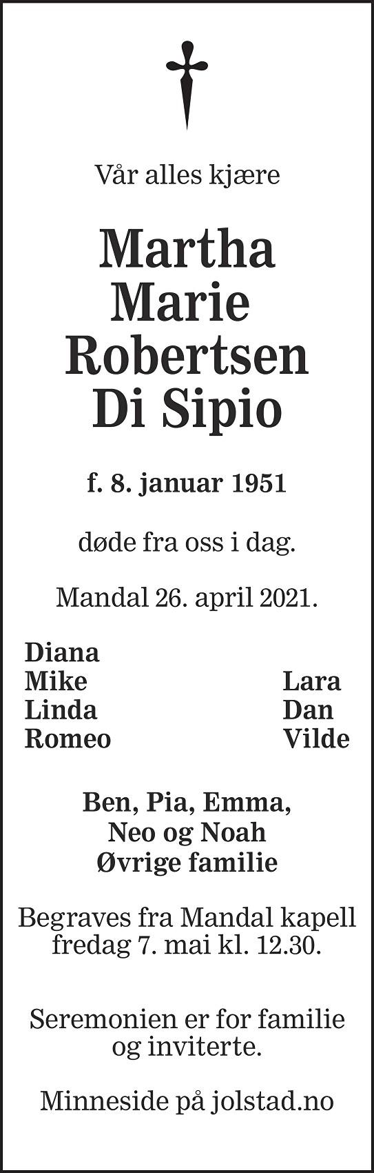 Martha Marie Robertsen Di Sipio Dødsannonse