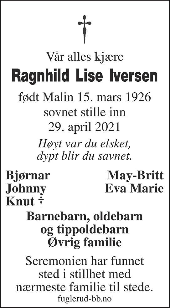 Ragnhild Lise Iversen Dødsannonse