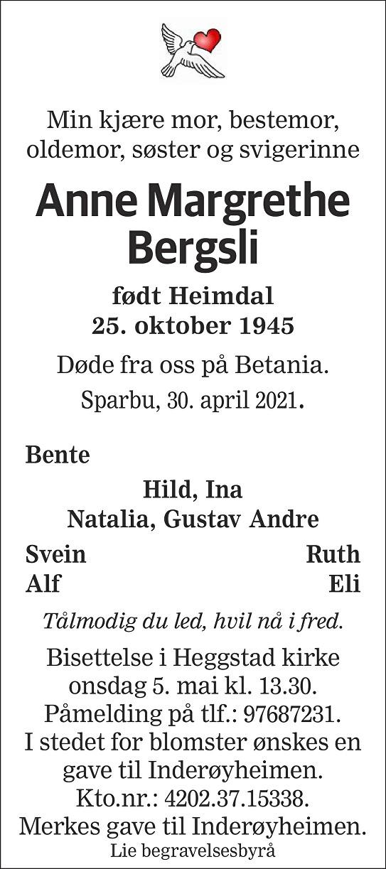 Anne Margrethe Bergsli Dødsannonse