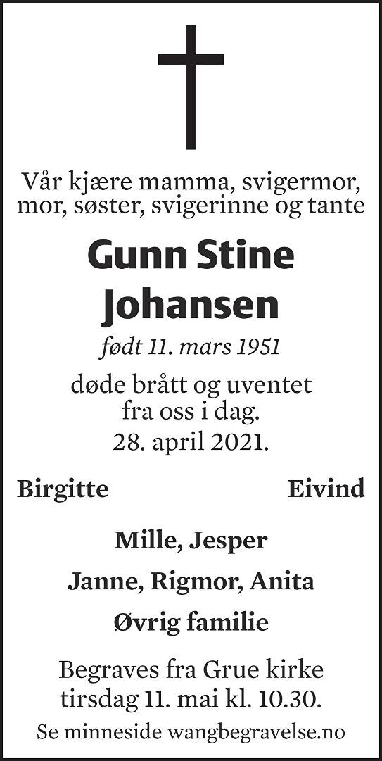 Gunn Stine Johansen Dødsannonse