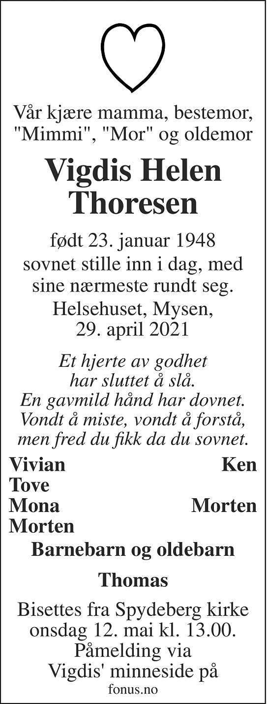 Vigdis Helen Thoresen Dødsannonse