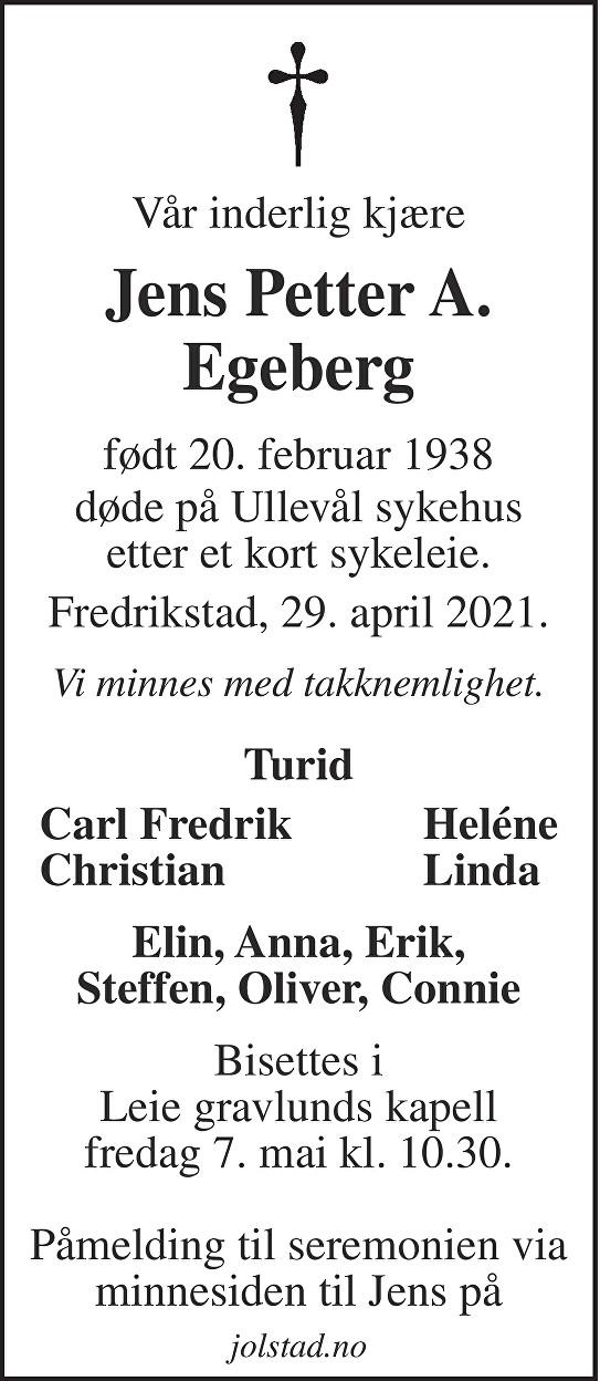 Jens Petter A. Egeberg Dødsannonse