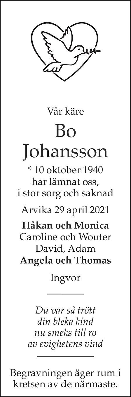 Bo Johansson Death notice