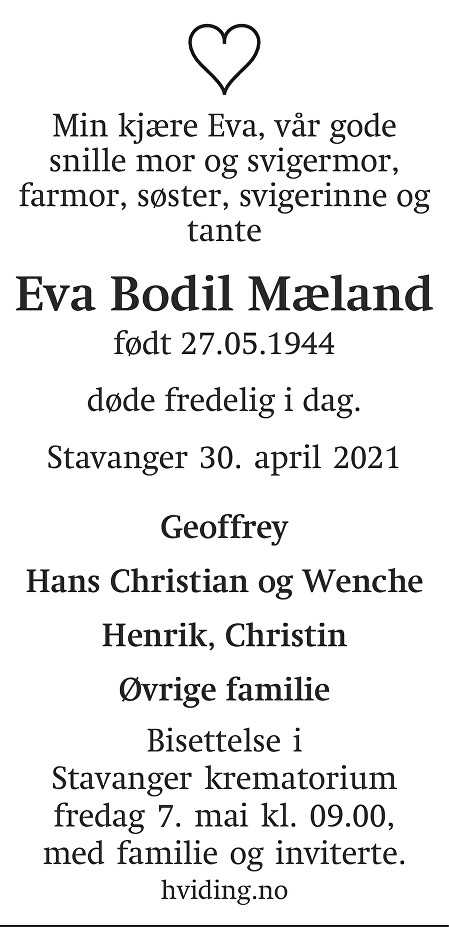 Eva Bodil  Mæland Dødsannonse