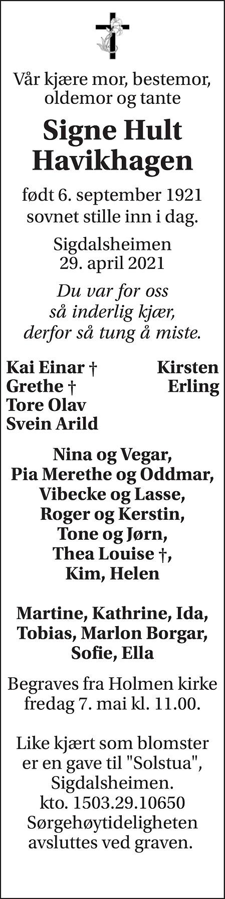 Signe Hult Havikhagen Dødsannonse