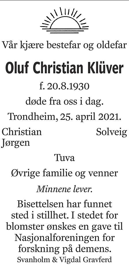 Oluf Christian Klüver Dødsannonse
