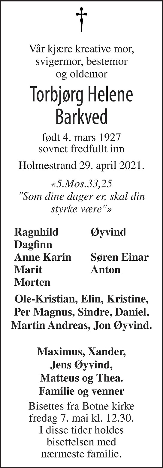 Torbjørg Helene Barkved Dødsannonse