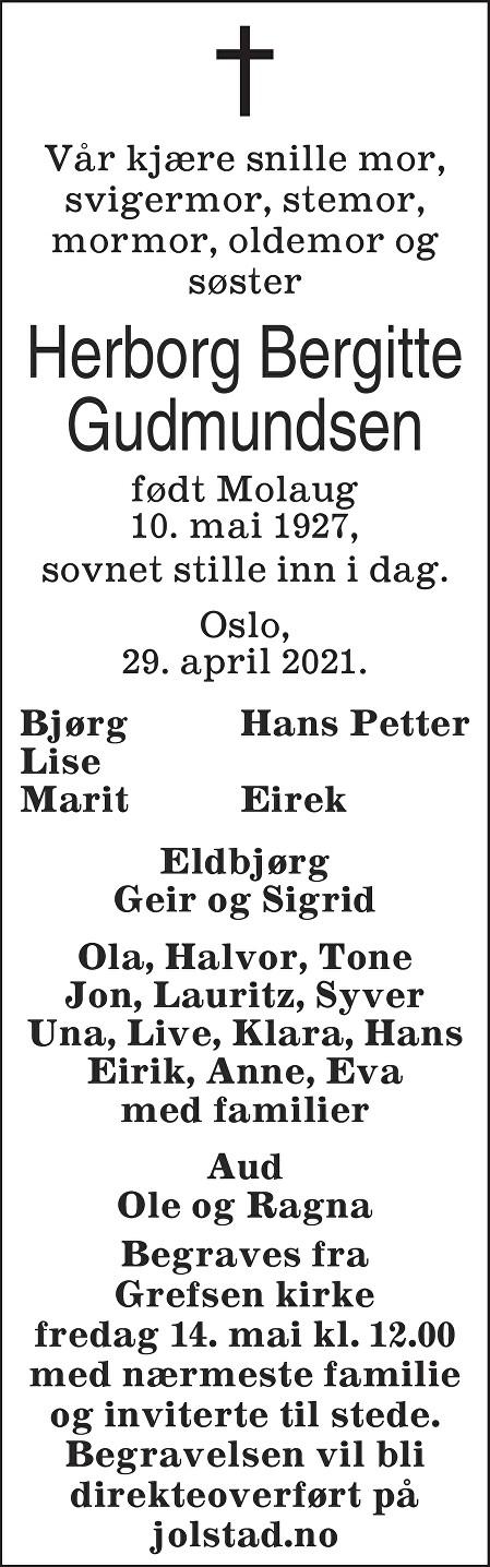 Herborg Bergitte Gudmundsen Dødsannonse