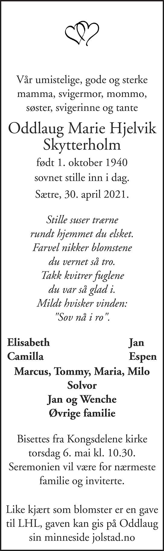 Oddlaug Marie Hjelvik Skytterholm Dødsannonse