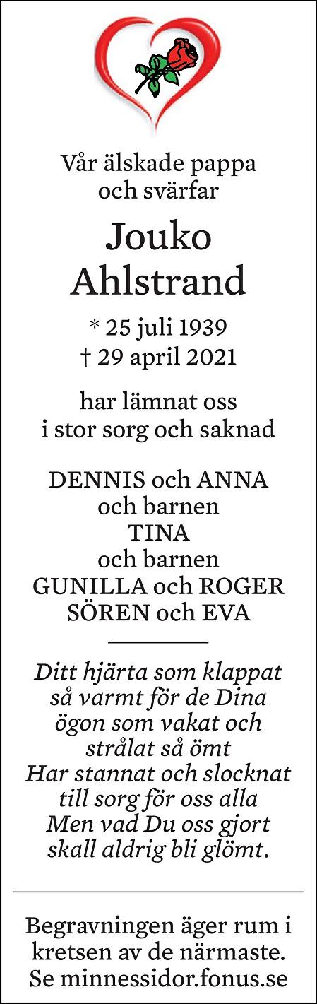 Jouko Ahlstrand Death notice