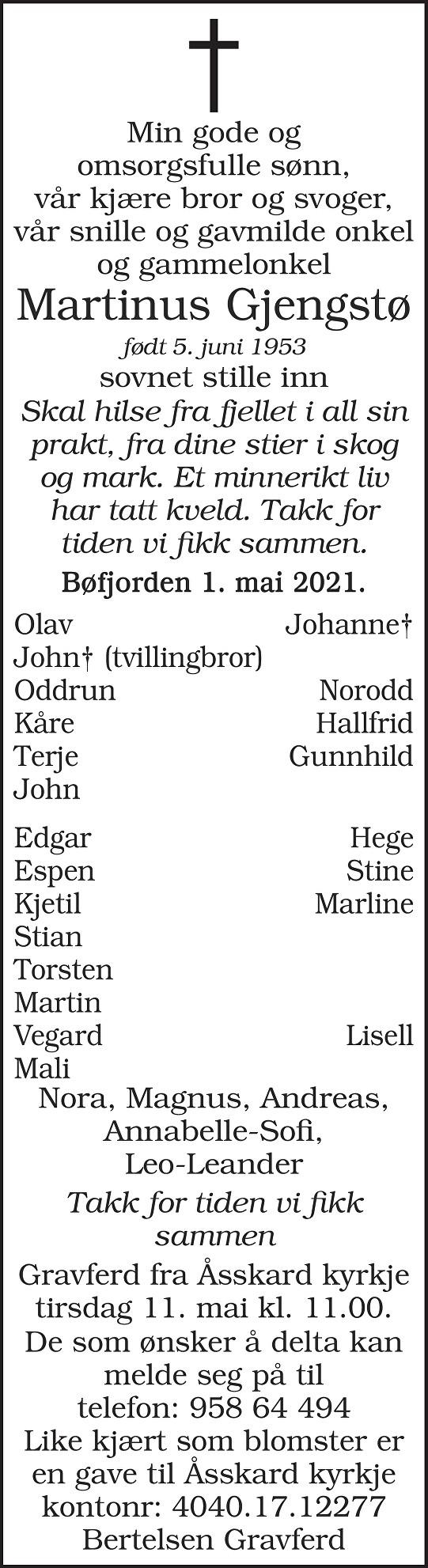 Martinus Gjengstø Dødsannonse
