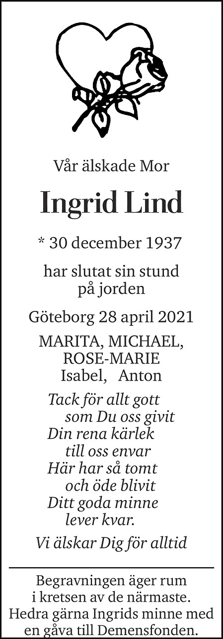Ingrid Lind Death notice