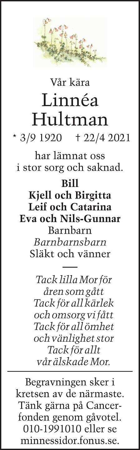 Linnéa Hultman Death notice