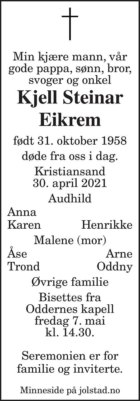 Kjell Steinar Eikrem Dødsannonse