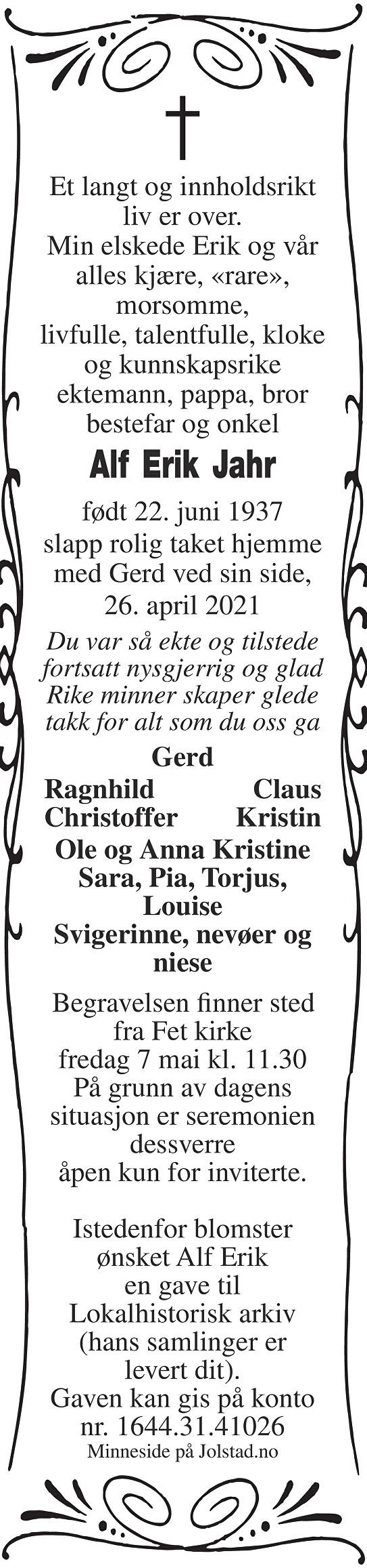 Alf Erik Jahr Dødsannonse