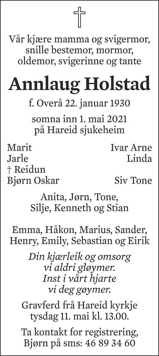 Annlaug Holstad Dødsannonse