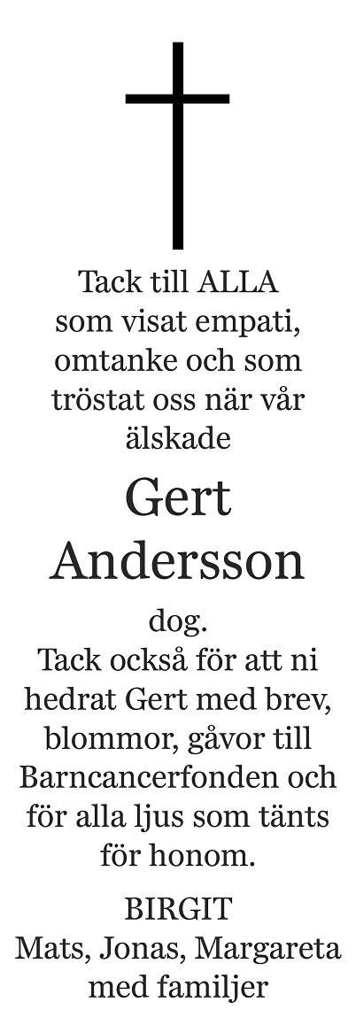 Gert  Andersson Death notice