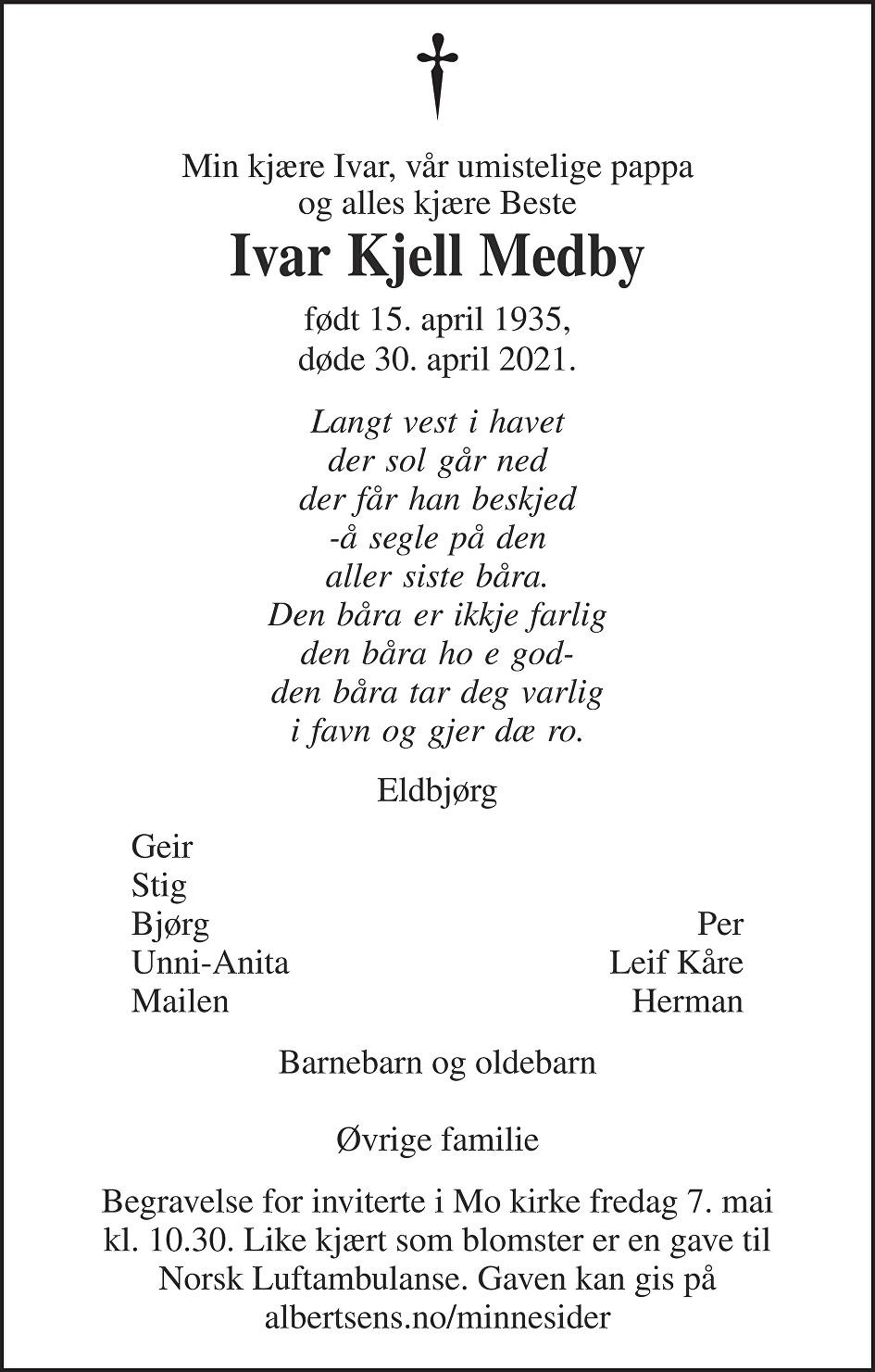 Ivar Kjell Medby Dødsannonse