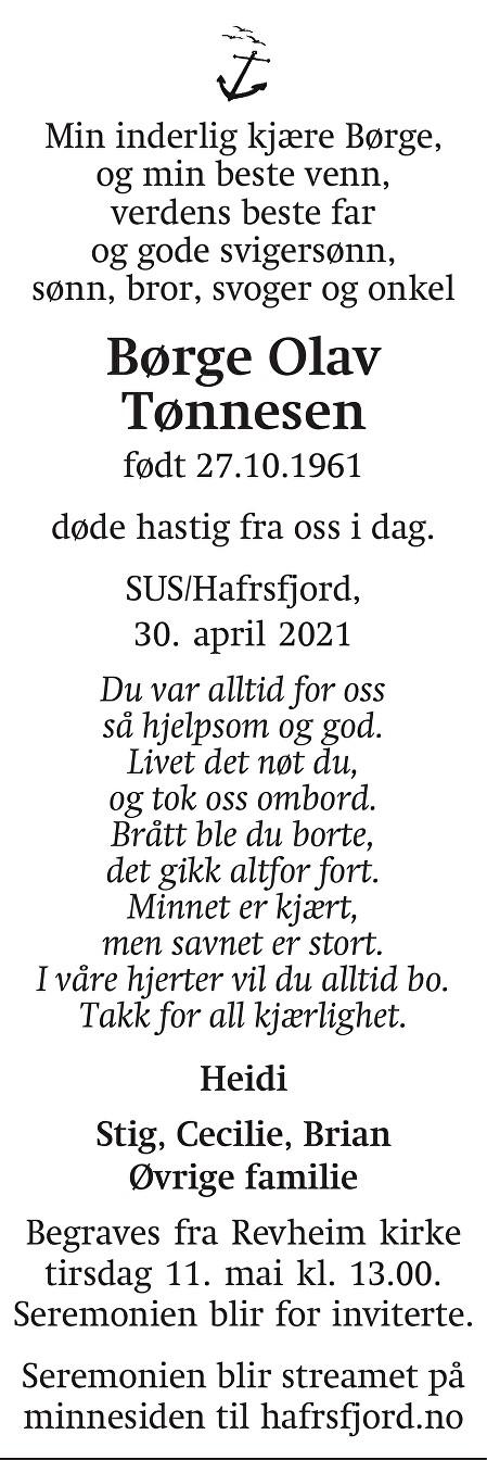 Børge Olav Tønnesen Dødsannonse