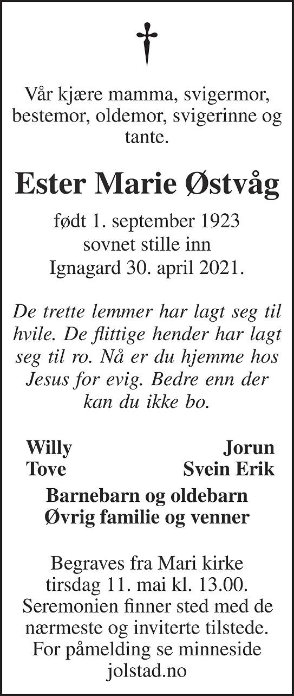 Ester Marie Østvåg Dødsannonse