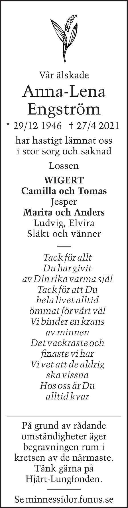 Anna-Lena Engström Death notice