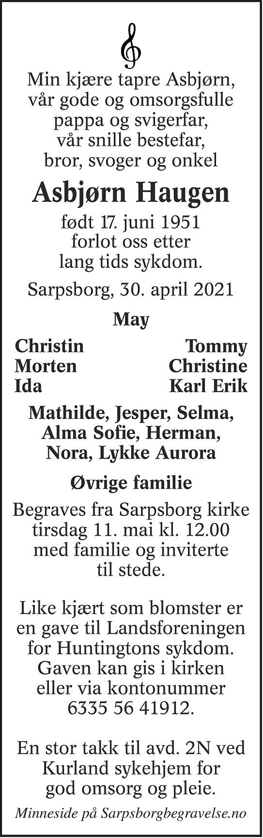 Asbjørn Haugen Dødsannonse