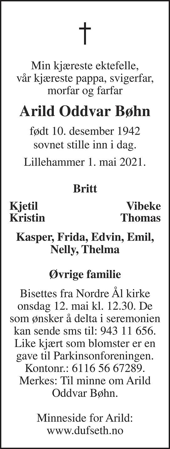 Arild Oddvar Bøhn Dødsannonse