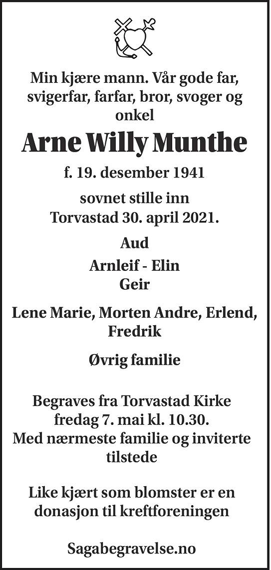 Arne Willy Munthe Dødsannonse