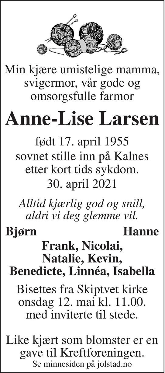 Anne-Lise Larsen Dødsannonse
