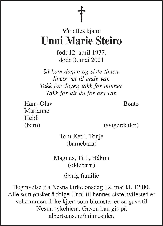 Unni Marie Steiro Dødsannonse
