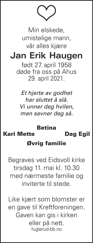 Jan Erik Haugen Dødsannonse