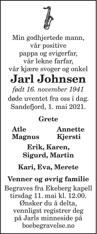 Jarl Johnsen Dødsannonse