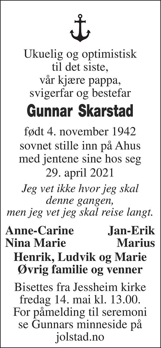 Gunnar Skarstad Dødsannonse