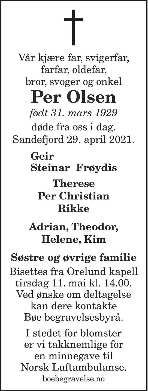 Per Olsen Dødsannonse