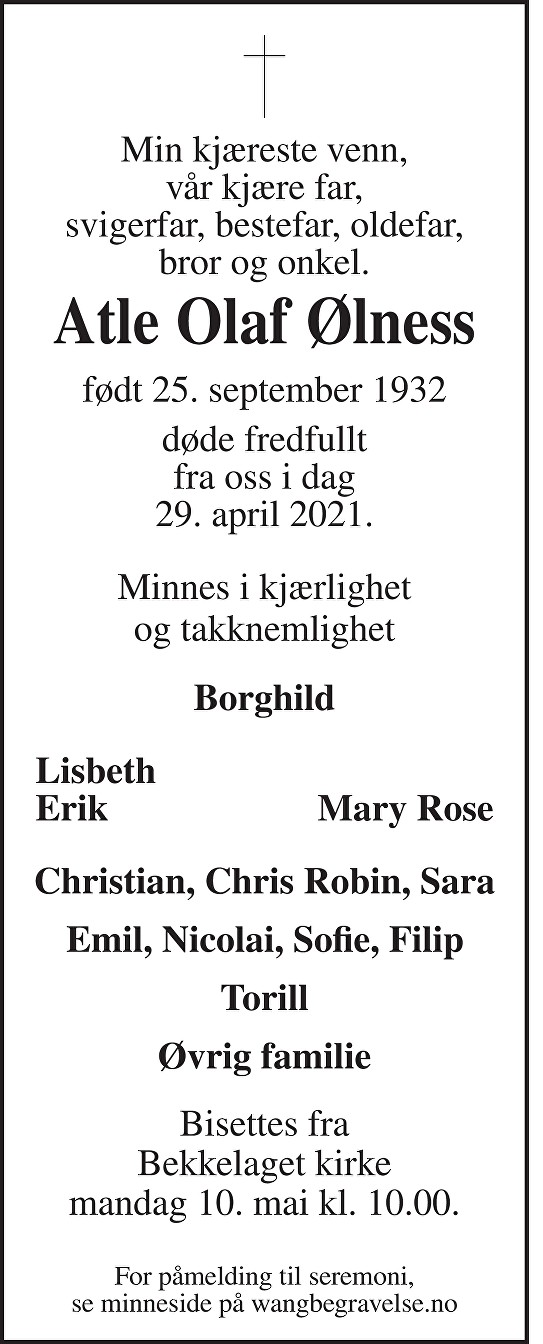Atle Olaf Ølness Dødsannonse