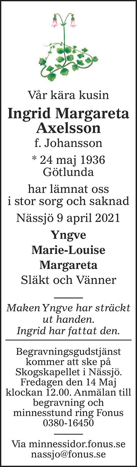 Ingrid Margareta Axelsson Death notice