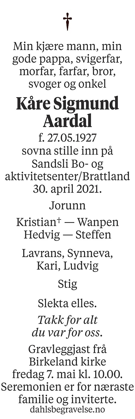 Kåre Sigmund Aardal Dødsannonse