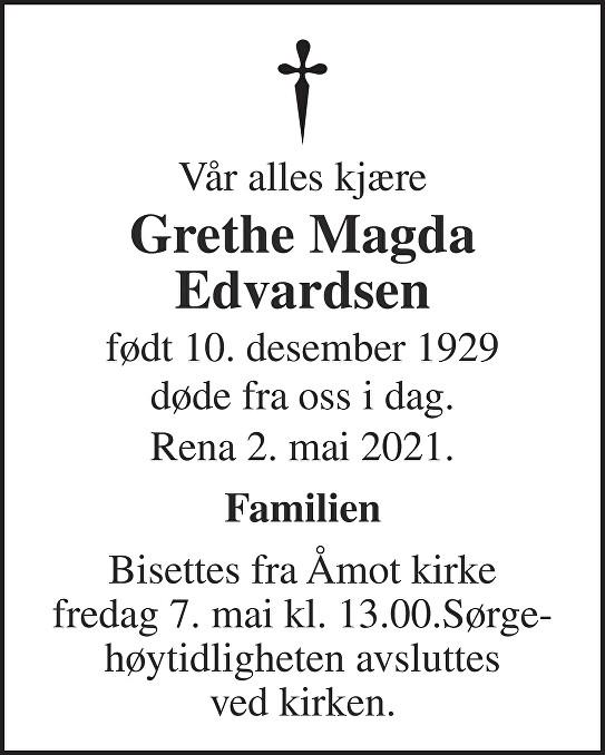 Grethe Magda Edvardsen Dødsannonse