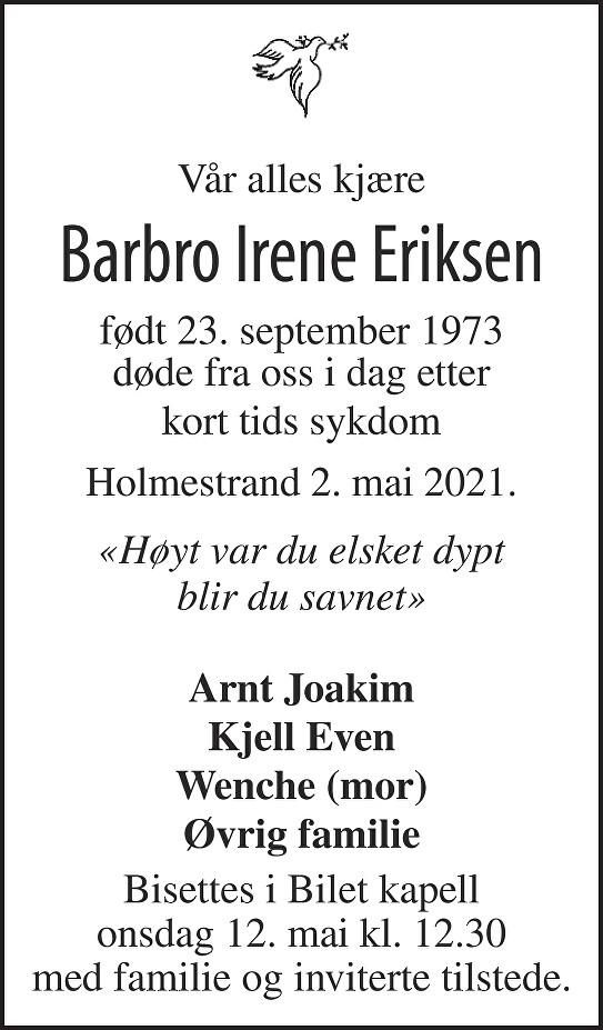Barbro Irene Eriksen Dødsannonse