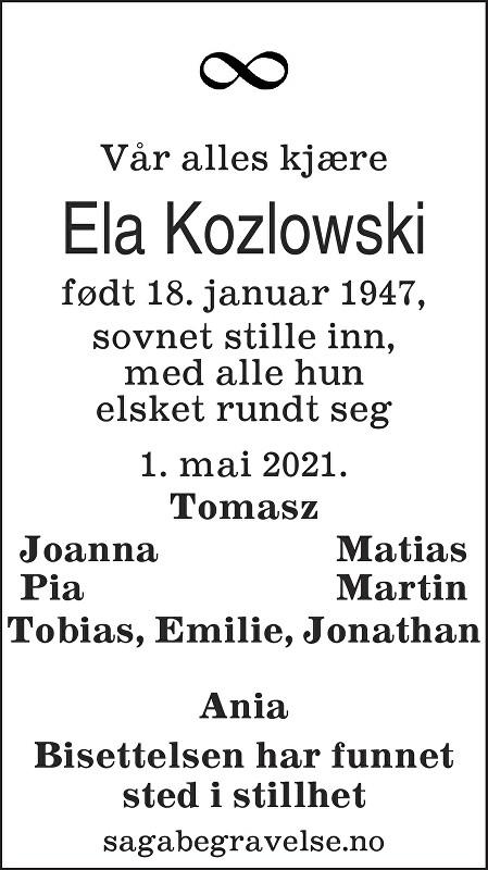 Ela Kozlowski Dødsannonse