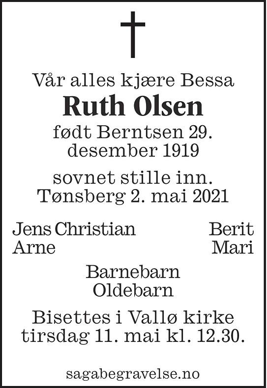 Ruth Olsen Dødsannonse