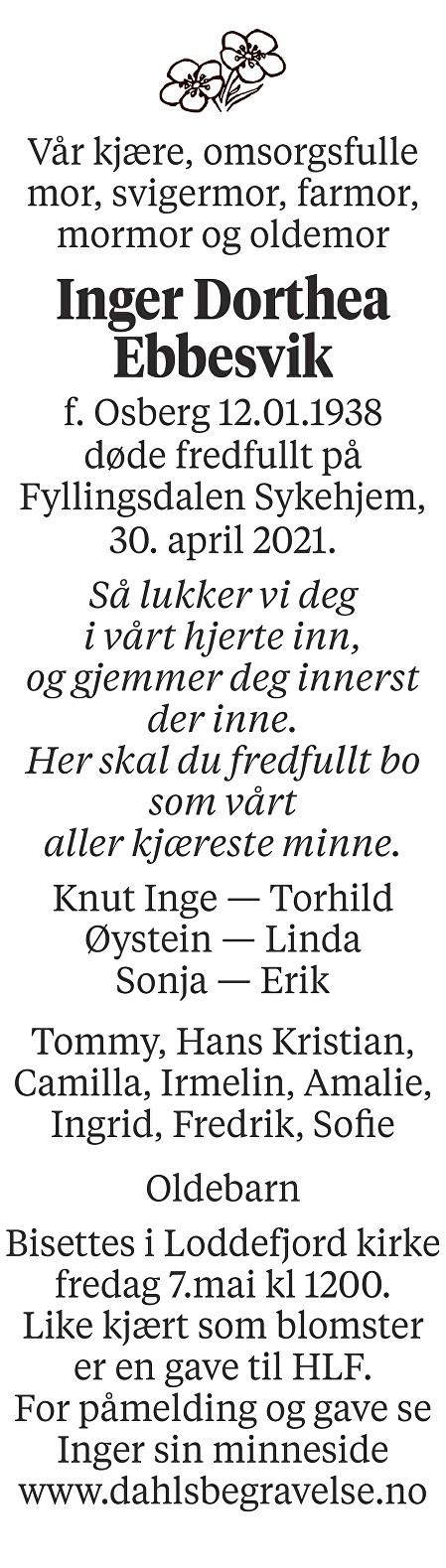 Inger Dorthea Ebbesvik Dødsannonse