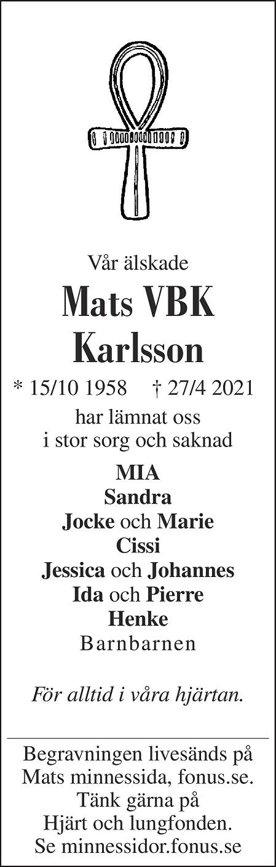 Mats Karlsson Death notice