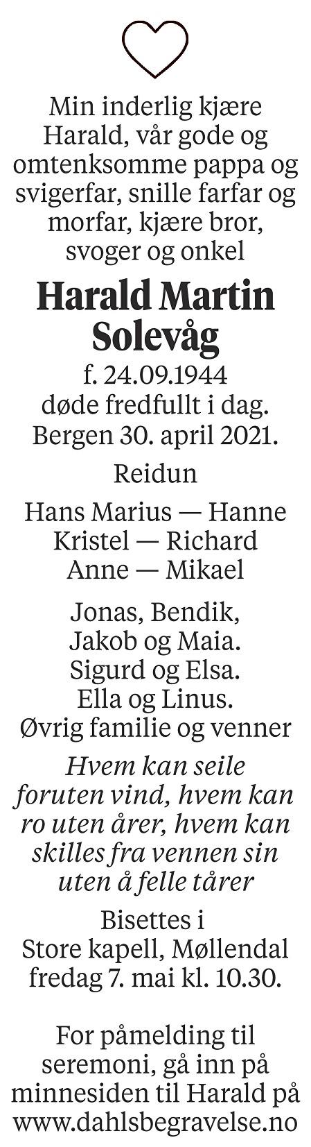 Harald Martin Solevåg Dødsannonse