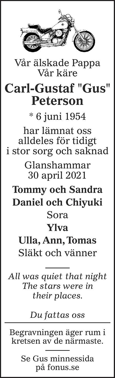 Carl-Gustaf Peterson Death notice