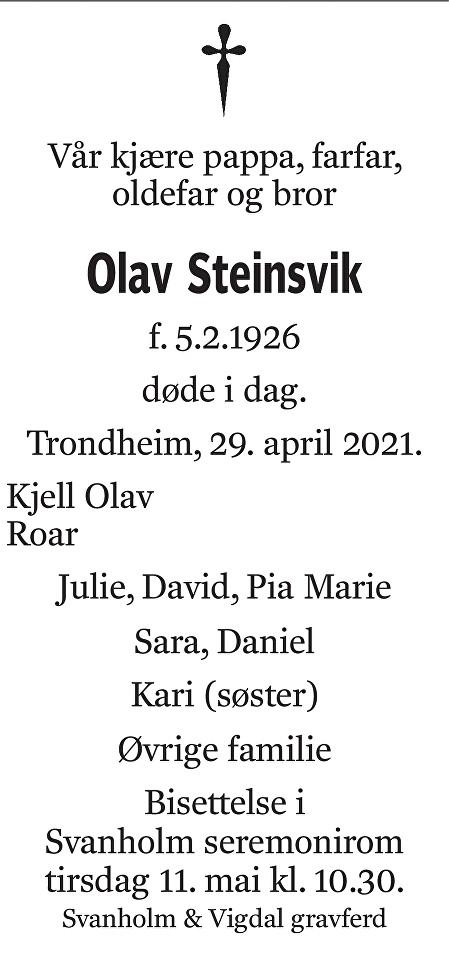Olav Steinsvik Dødsannonse