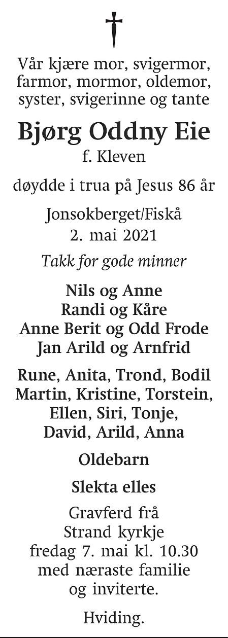 Bjørg Oddny  Eie Dødsannonse