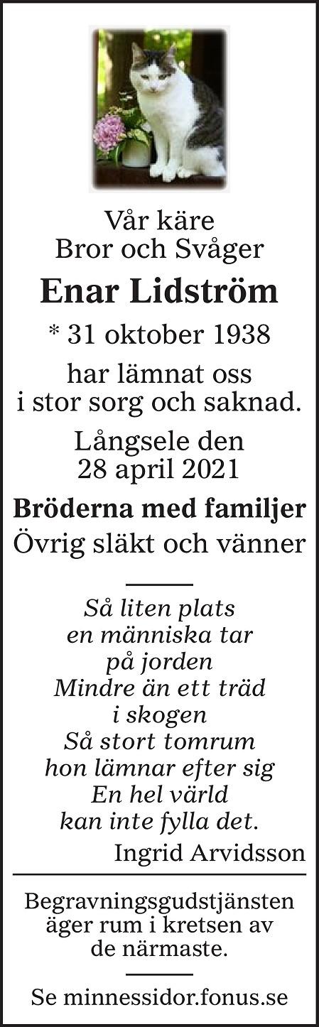Enar Lidström Death notice