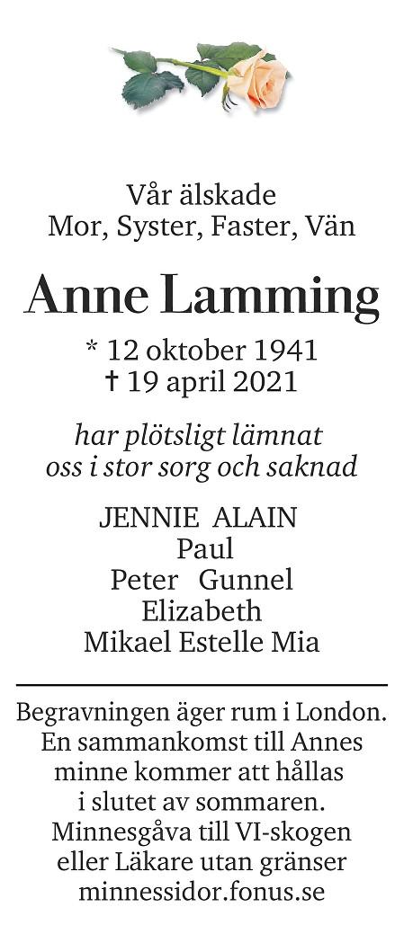 Anne Lamming Death notice